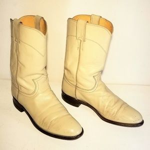 Justin Vintage Western Boots Cream Leather Size 8B